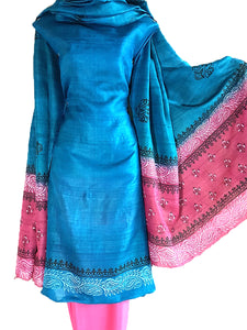 Block Printed Tussar Silk Suit in Blue Color BBETUS025