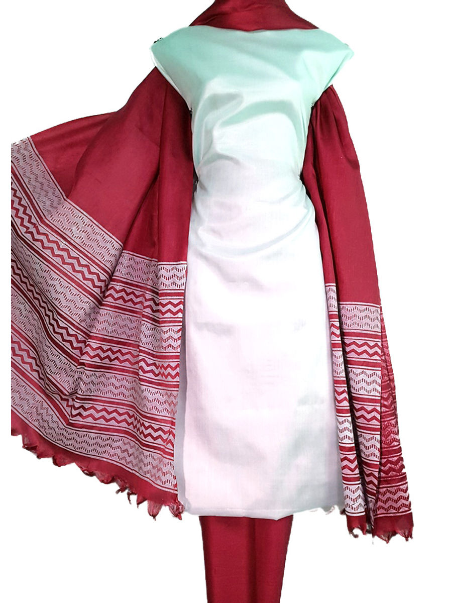 Block Printed Tussar Silk Suit in White & Red