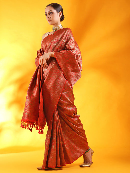 Red Banarasi Silk Saree in Tanchoi Weave