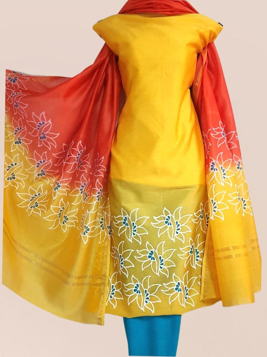 Block Printed Chanderi Silk Set_Yellow