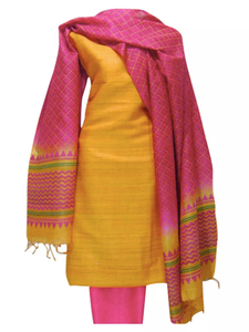 Hand Block Printed Tussar Silk Ensemble BBETU91