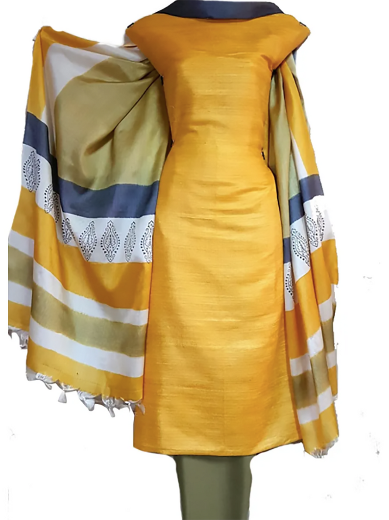 Hand Block Printed Tussar Silk Ensemble BBETU0112