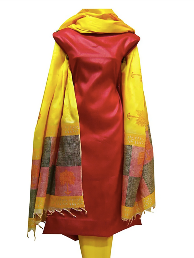 Hand Block Printed Tussar Silk Ensemble BBETU0113
