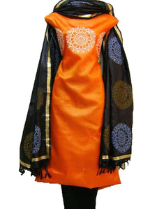 Block Printed Tussar Silk Suit in Orange Black
