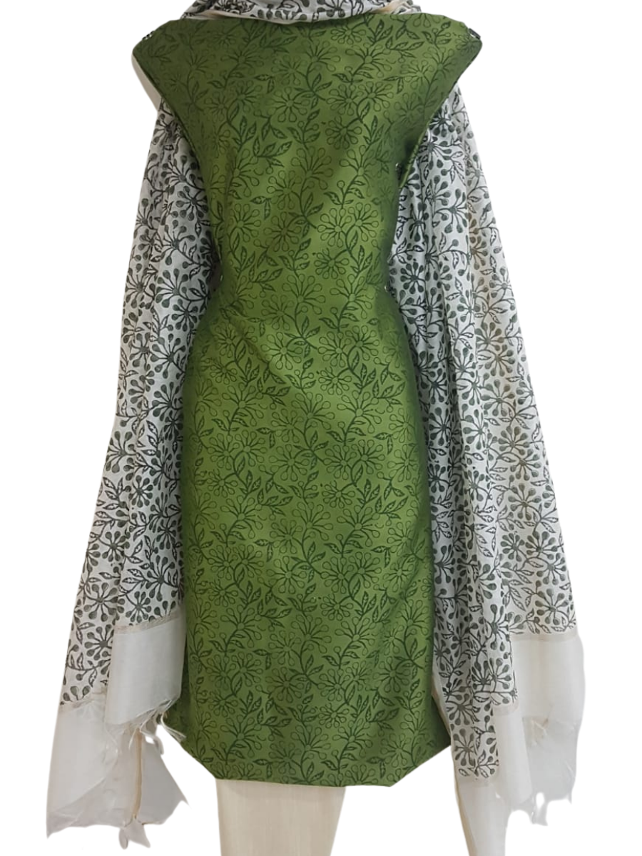 Block Printed Chanderi Silk Set_Green
