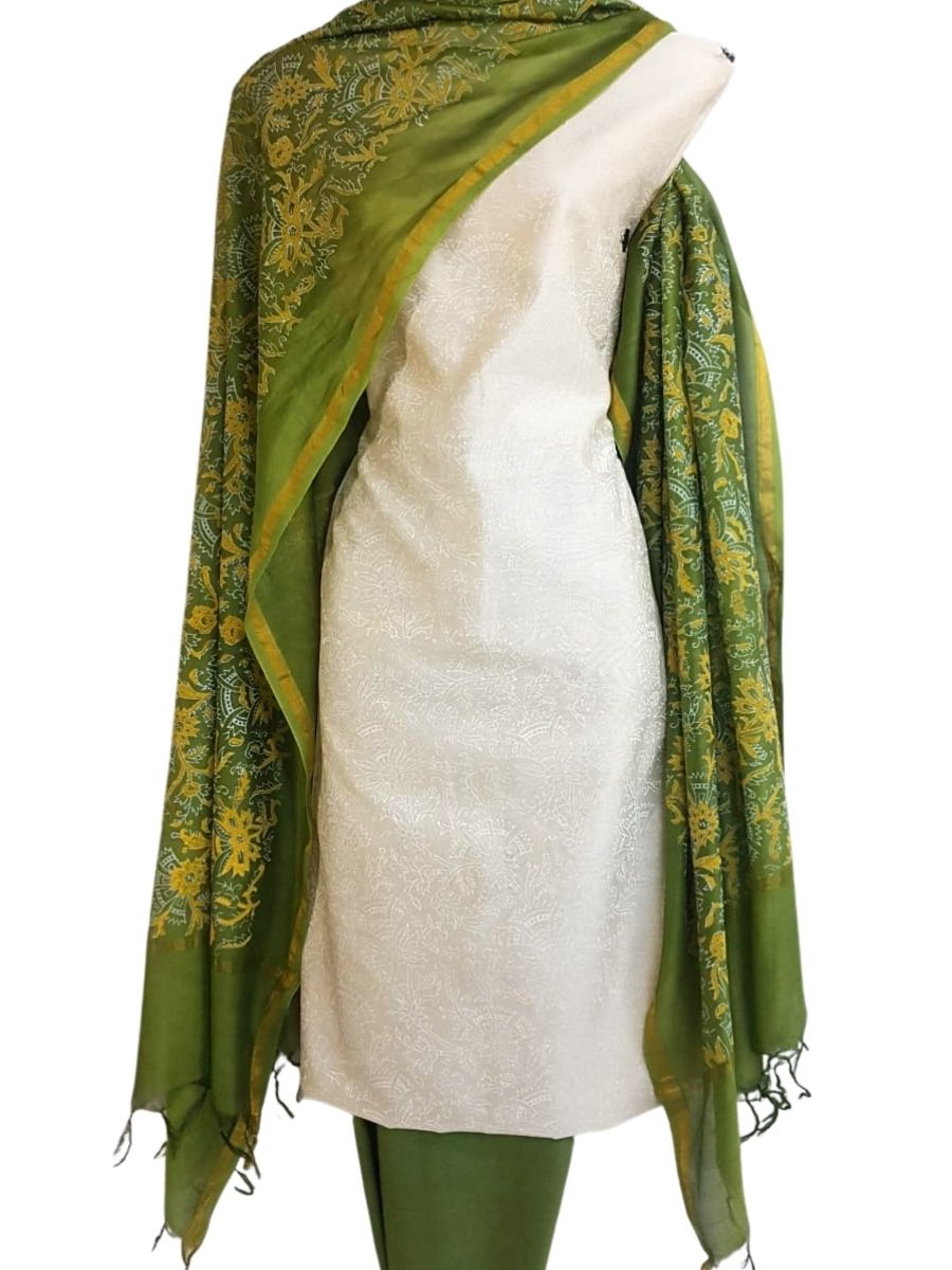 Block Printed Chanderi Silk Set_White
