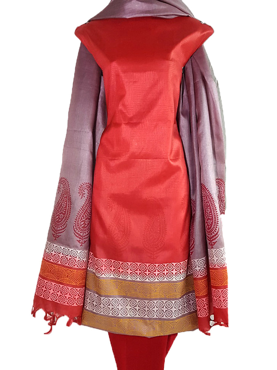 Block Printed Tussar Silk Suit in Red  BBETUS029