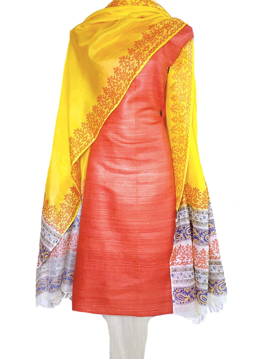 Block Printed Tussar Silk Suit Red Yellow