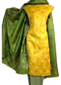 Block Printed Tussar Silk Ensemble in Yellow Green