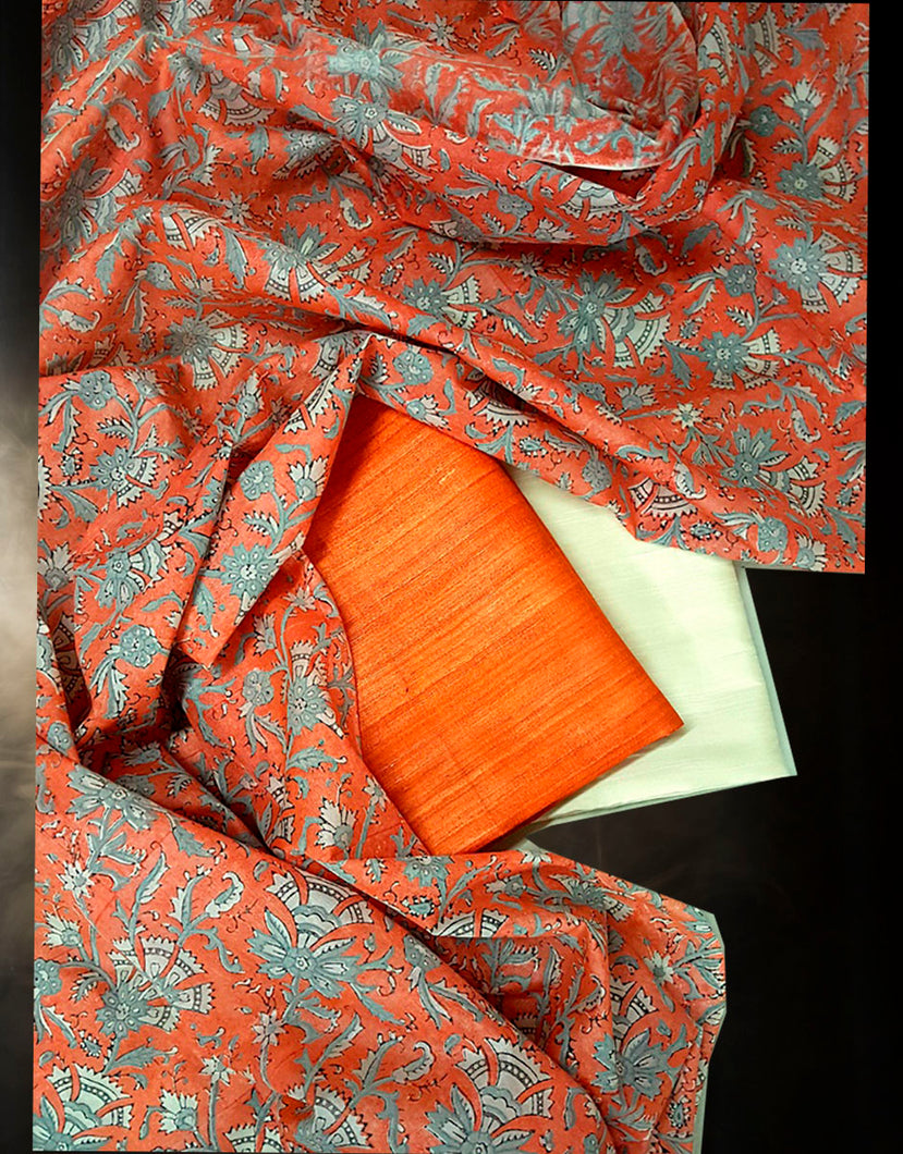 Printed Tussar Silk Suit Material in Orange