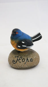 Inspirational Blue Bird Sitting on a Rock with the Word Hope