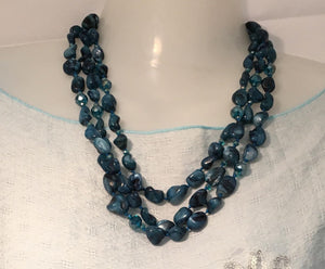 Triple Strand Teal Blue Mother of Pearl and Crystal Bead Necklace 50 cm