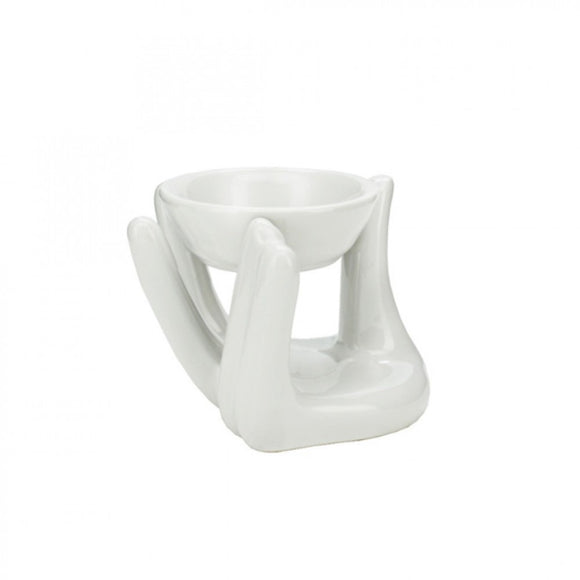White Buddha's Hand Design Ceramic Oil Wax Melt Burner