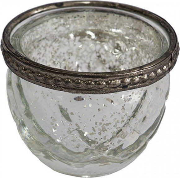 Votive Lys Glass and Silver Round Candle Holder