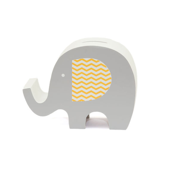 Grey Wooden Elephant Money Box