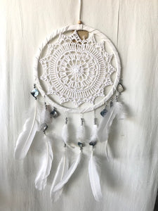 White Crochet with Mother of Pearl Dream Catcher