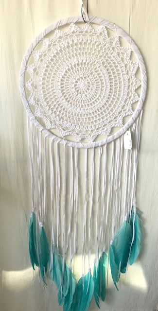 White crochet with Turquoise feather Dream catcher