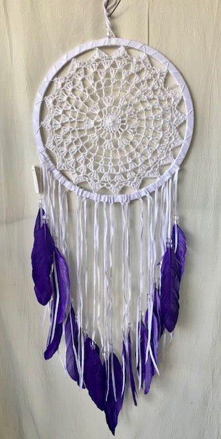 White crochet with Purple feathers Dream catcher