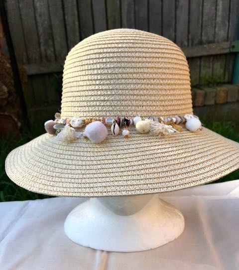 Ladies Womens Summer Shapable Floppy Cream Bucket Hat Sun Hat with Beaded Tie