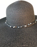 Ladies Womens Summer Shapable Floppy Black Sun Hat with Beaded Tie