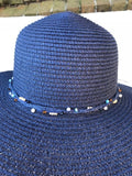 Ladies Womens Summer Shapable Floppy Navy Blue Sun Hat with Beaded Tie