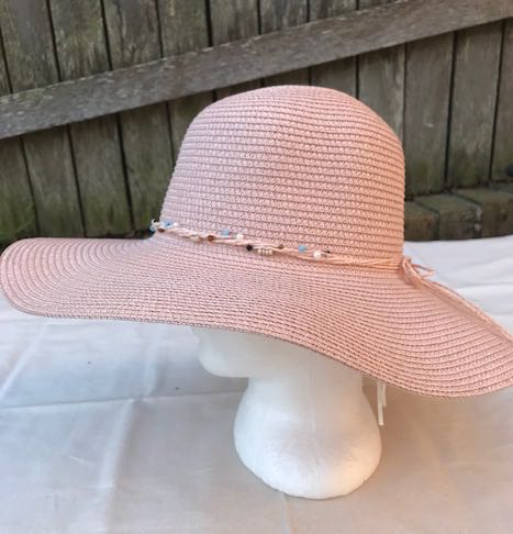 Ladies Womens Summer Shapable Floppy Pink Sun Hat with Beaded Tie