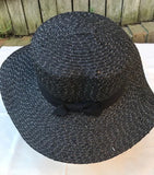 Ladies Summer Shapable Floppy Black Sequinned Sun Hat with Black Tie