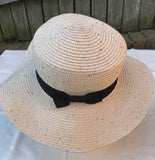 Ladies Summer Shapable Floppy Cream Silver or Gold Sequinned Sun Hat with Black Tie