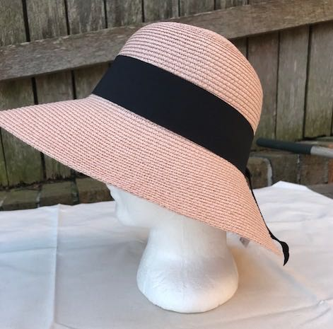 Ladies Summer Shapable Floppy Pink Sparkle Sun Hat with Black Tie
