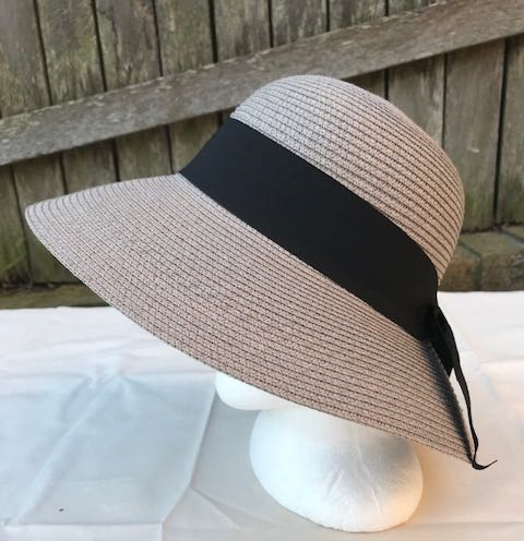 Ladies Summer Shapable Floppy Grey Sparkle Sun Hat with Black Tie
