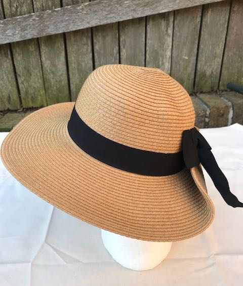 Ladies Summer Shapable Floppy Tan Sun Hat with Black Tie