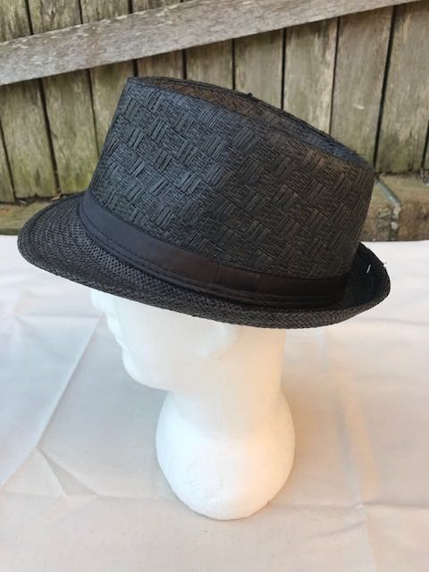 Unisex Fedora Trilby Hat Cap Black Paper Panama Style Packable Travel Sun Hat