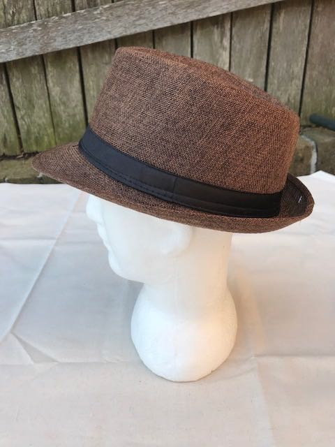 Unisex Fedora Trilby Hat Cap Brown Panama Style Packable Travel Sun Hat