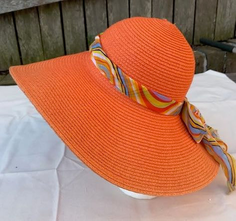 Ladies Womens Summer Shapable Floppy Orange Sun Hat with Stripe Print Scarf Tie
