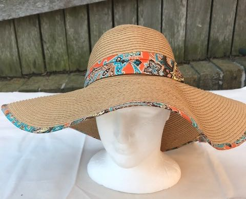 Ladies Womens Summer Shapable Floppy Sun Hat with Aztec Scarf Tie
