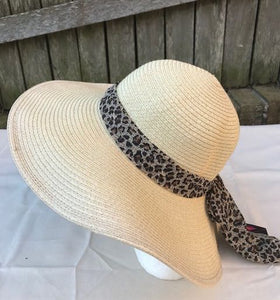 Ladies Womens Summer Shapable Floppy Cream Sun Hat with Cheetah Print Scarf Tie