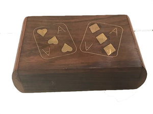Wooden Ace of Diamonds playing card box with Pack of cards