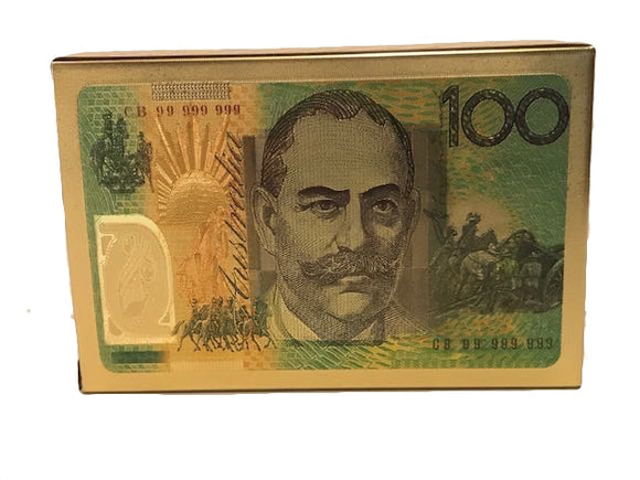 Australian 100 Dollar Note 24 Carat Gold Foil Playing Cards
