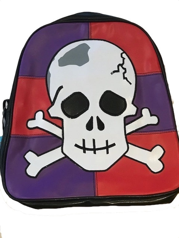 Red and Purple Skull Applique Kindy Backpack - Free Post