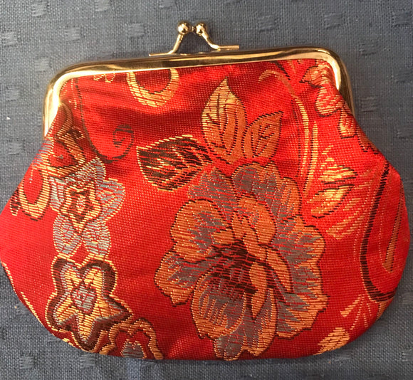 Red Flower Design Kimono Material Coin Purse