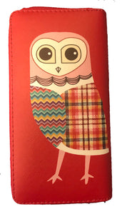 Red with Patchwork Owl Design PU Leather Wallet