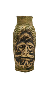 Middle Eastern Face Design Golden Green Hand Painted Ceramic Decorative Vase