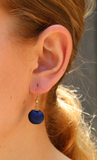 Navy Blue Ball Nickel Free Earrings