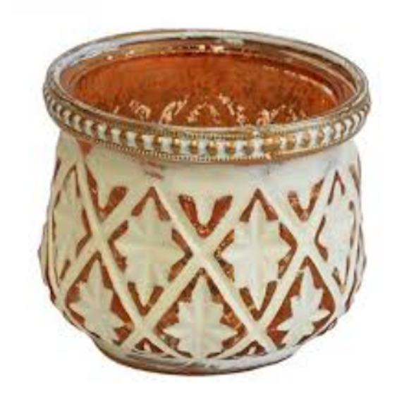 Votive Estella Gold and White Candle Holder