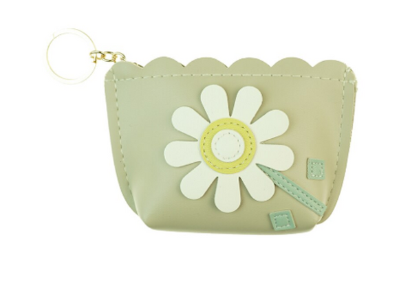 Grey Flower Coin Purse