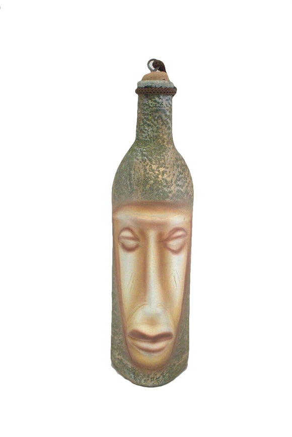 Middle Eastern Face Design Golden Green Hand Painted Ceramic Decorative Bottle