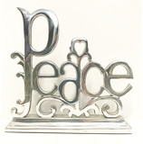 Large Peace Silver Metal Word Statue