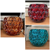 Red Orange Or Blue Round Dimpled Glass Candle Holders