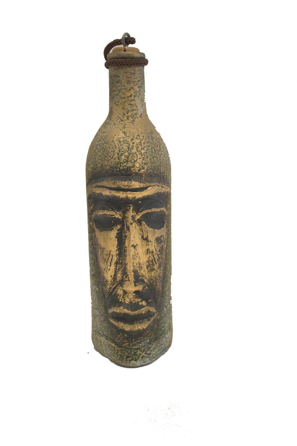 Middle Eastern Bronze Face Design Hand Painted Ceramic Decorative Bottle
