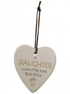 Ceramic Hanging Heart - A Daughter is one of the most Beautiful Gifts